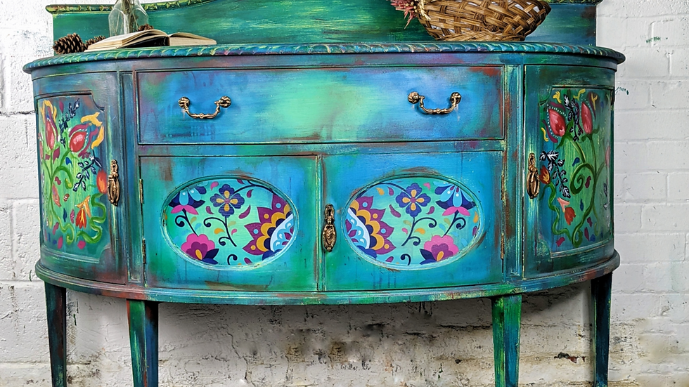 Lola - Sideboard - Folk Art - Bohemian - Hand Painted - Vintage - Living Room