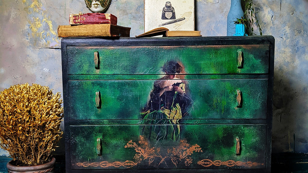 Fair Lady Drawers - Chest of Drawers - Vanity - Hand Painted - Green Furniture