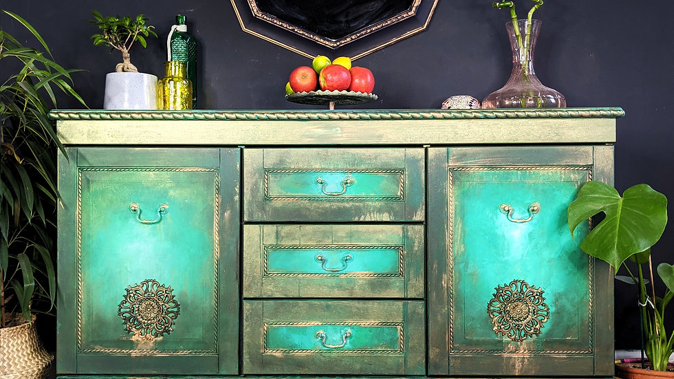 Emerald River - Sideboard - Hand Painted - Living Room - Dining Room - Vintage