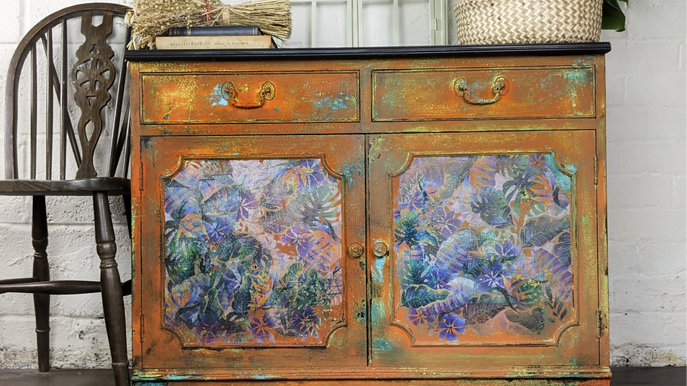 Sideboard - Rustic - Hand Painted - Bohemian - Eclectic - Living Room