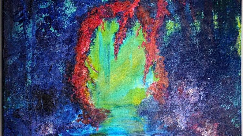 "The Secret Garden - Original Painting - Fine Art - Fantasy Art 20x16"""