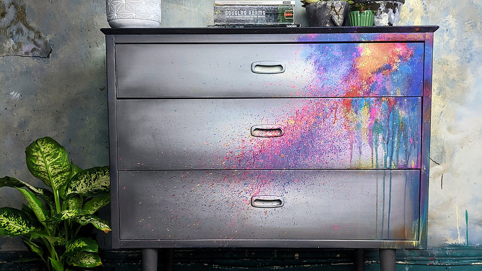 Technicolor Life - MCM Furniture - Chest of Drawers - Hand Painted -  Abstract