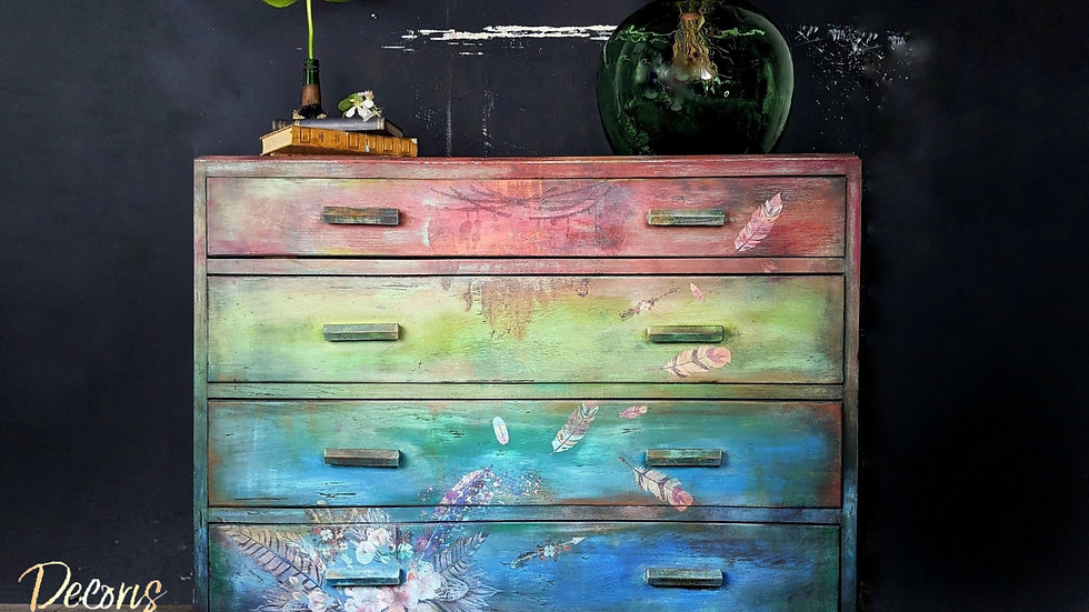 Forever Flower - Drawers - Hand Painted - Rustic - Boho - Living Room - Bedroom