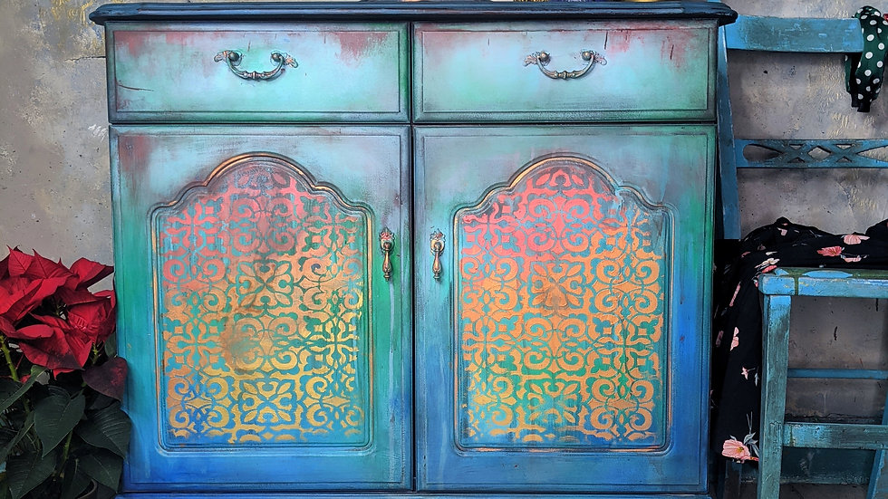 Moroccan Gem - Cabinet - Small Sideboard - Hand Painted - Living Room - Hallway