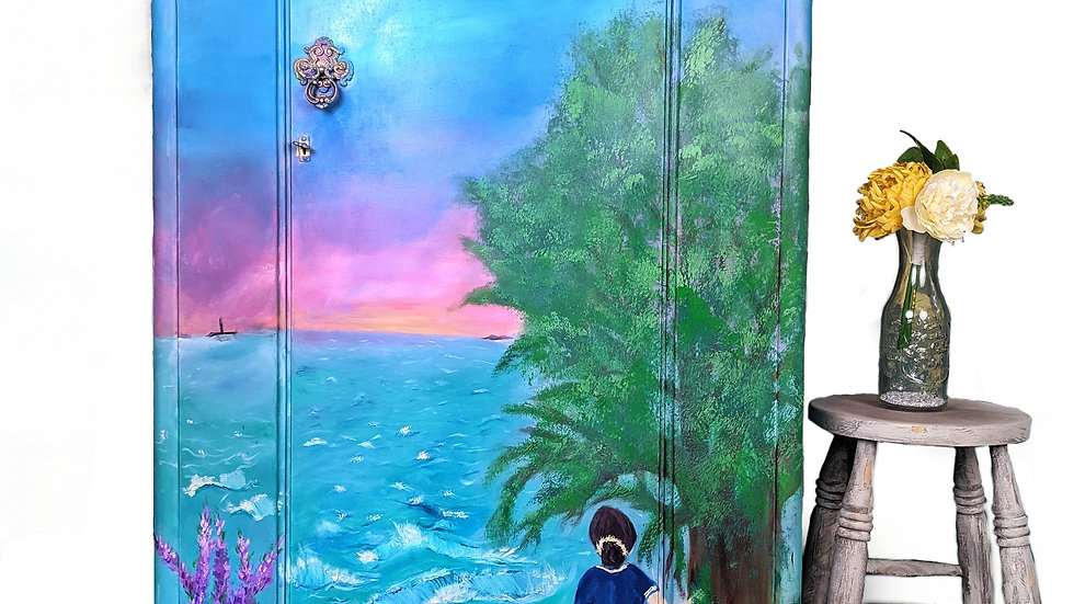 Beyond the Sea Armoire - Hand Painted Furniture - Bedroom Furniture - Wardrobe