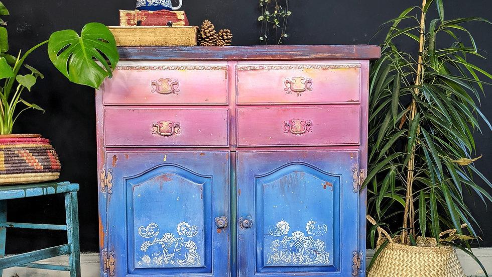 Bohemian Cabinet - Small Sideboard - Hand Painted - Boho Furniture - Bespoke