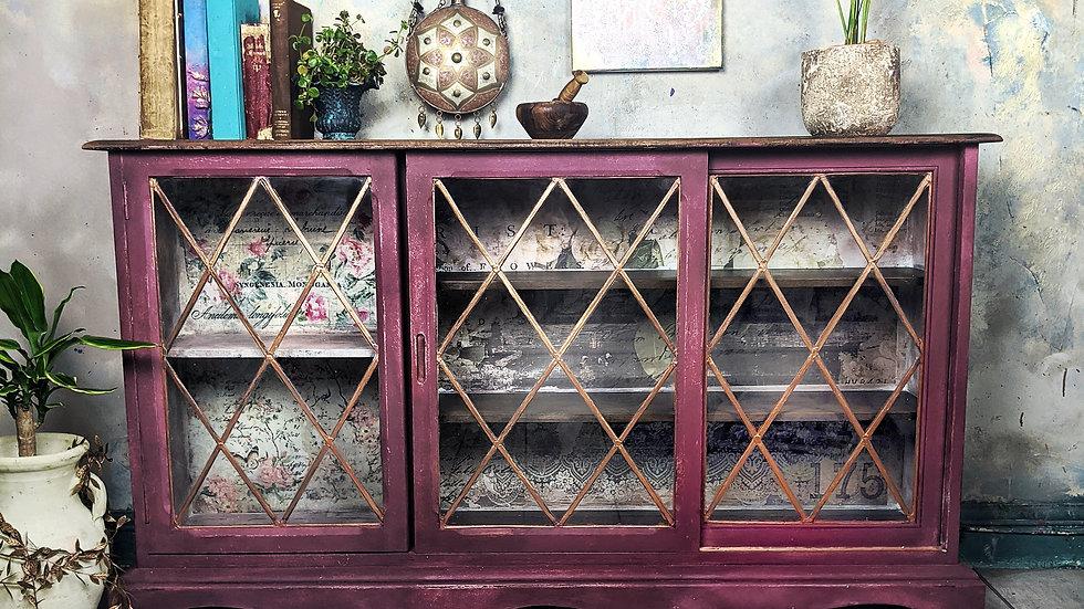 Plum Wine - Display Cabinet - Sliding Cabinet - Hutch - Hand Painted - Vintage