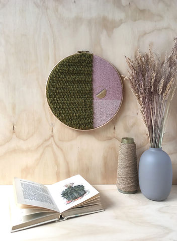 Round 10_ Olive Green & Pink Textile Art