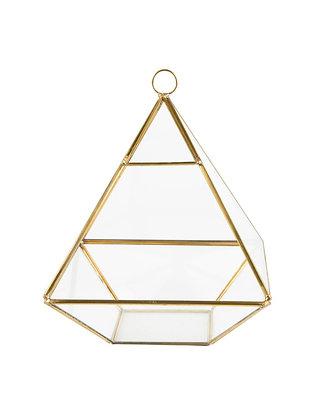Terrarium in pyramide vorm met gouden randen en glas