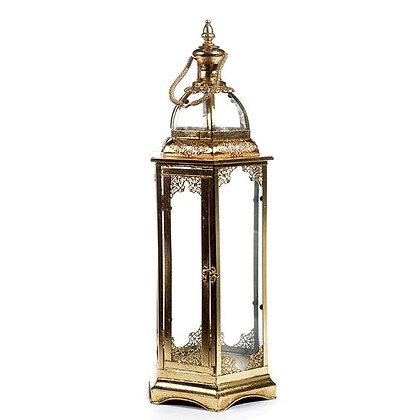 Gouden lantaarn in glas van 70cm hoog