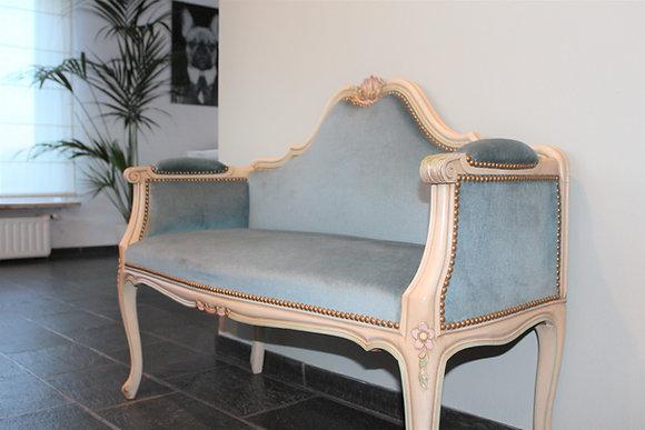 Sofa in velvet blauw voor bruid en bruidegom