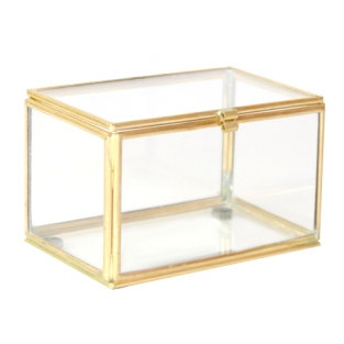 Ringendoosje in glas en gouden randen