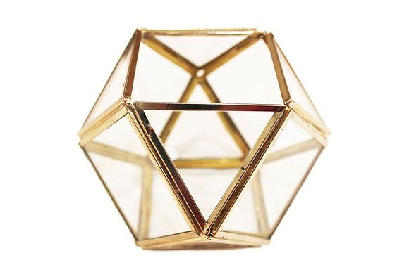 Geometrische theelichouder met gouden randen en glas