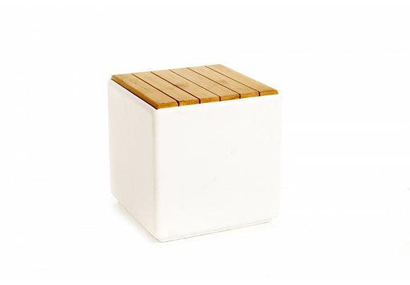 Kubus wit met cederhout