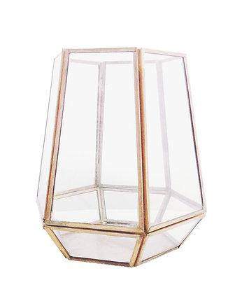 Terrarium met glas en gouden randen