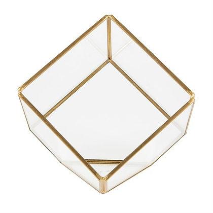 Terrarium in kubusvorm met gouden randen