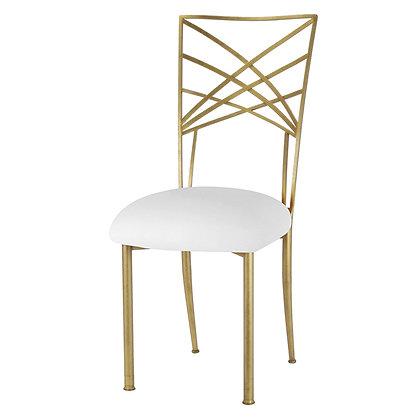 Gouden luxe stoel met witte zitting