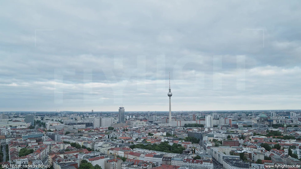 Berlin Volkspark am Weinberg Alexanderplatz Skyline Zuflug tagsüber 5