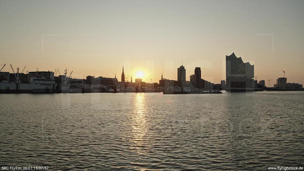 Hamburg Hafen Skyline Hub morgens