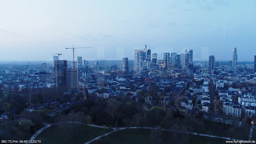 Frankfurt Grüneburgpark Zuflug Skyline morgens 4