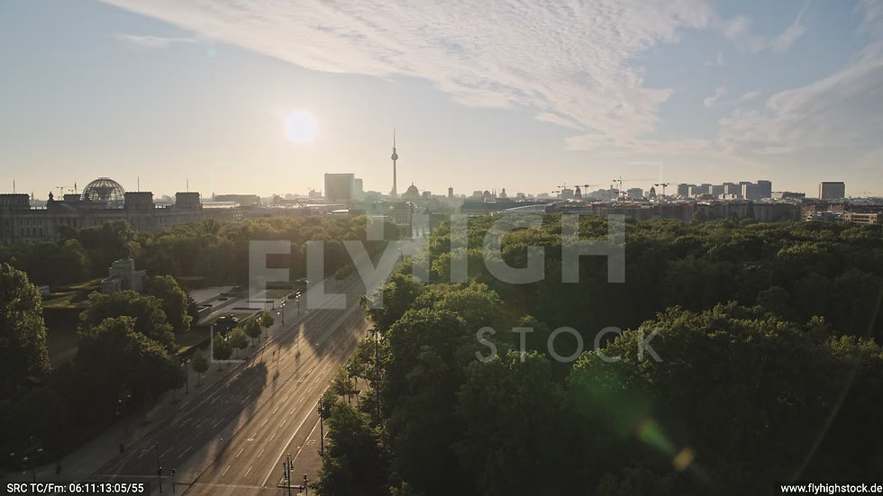 Berlin Tiergarten Brandenburger Tor Zuflug nach oben morgens D030_C008