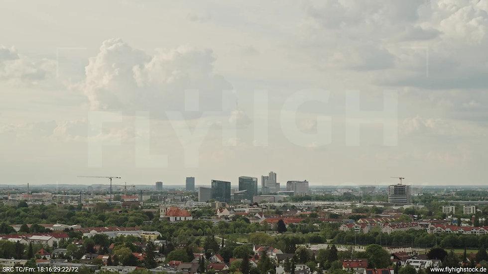 München Ostpark Stadtteil-Shot Zuflug nach unten tagsüber 2