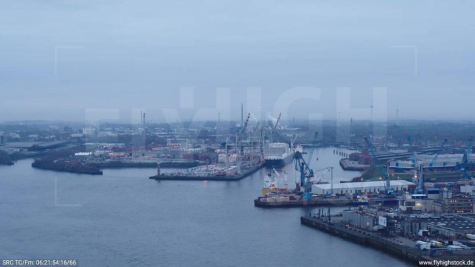 Hamburg Hafen Zuflug Hansahafen morgens