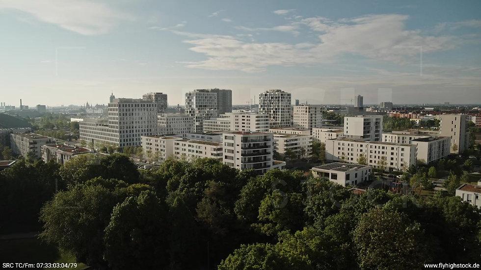München Hirschgarten Skyline Rückflug nach oben morgens 6