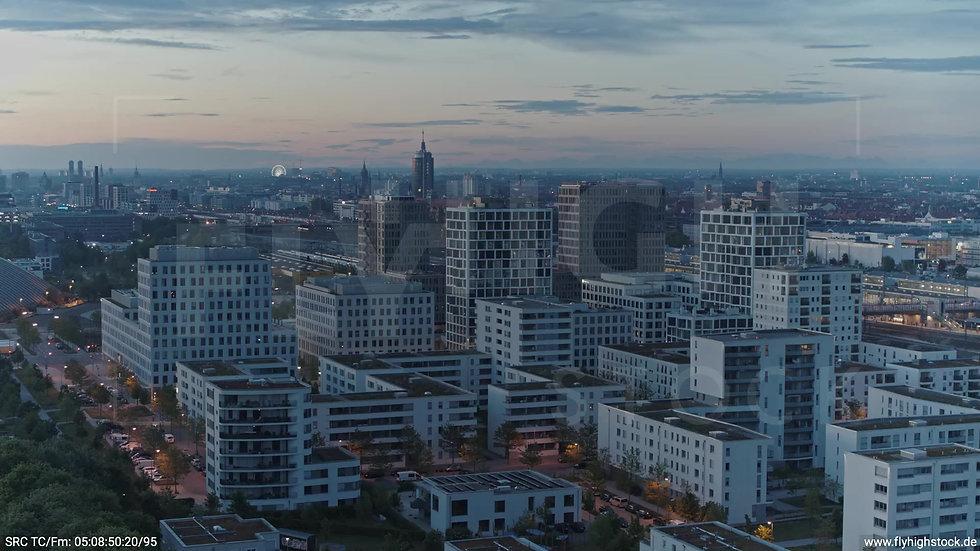 München Hirschgarten Skyline Rückflug nach oben morgens 2