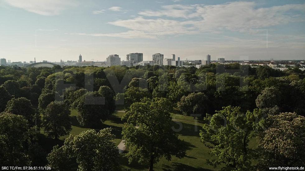 München Hirschgarten Skyline tiefer Zuflug morgens 2