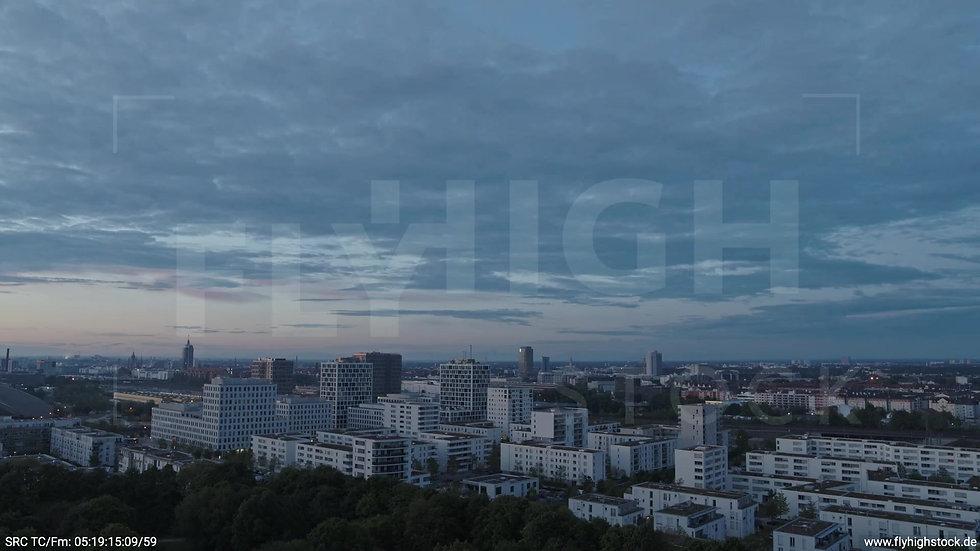 München Hirschgarten Skyline Rückflug nach oben morgens 3