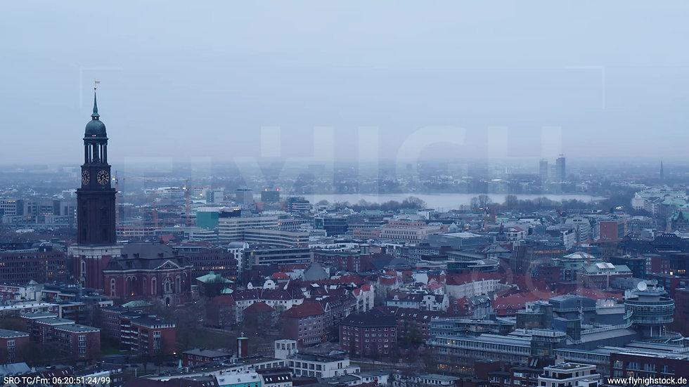 Hamburg Hafen Zuflug Skyline morgens 3