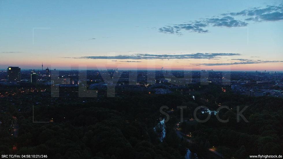 München Westpark Ost Skyline Parallel- und Zuflug morgens