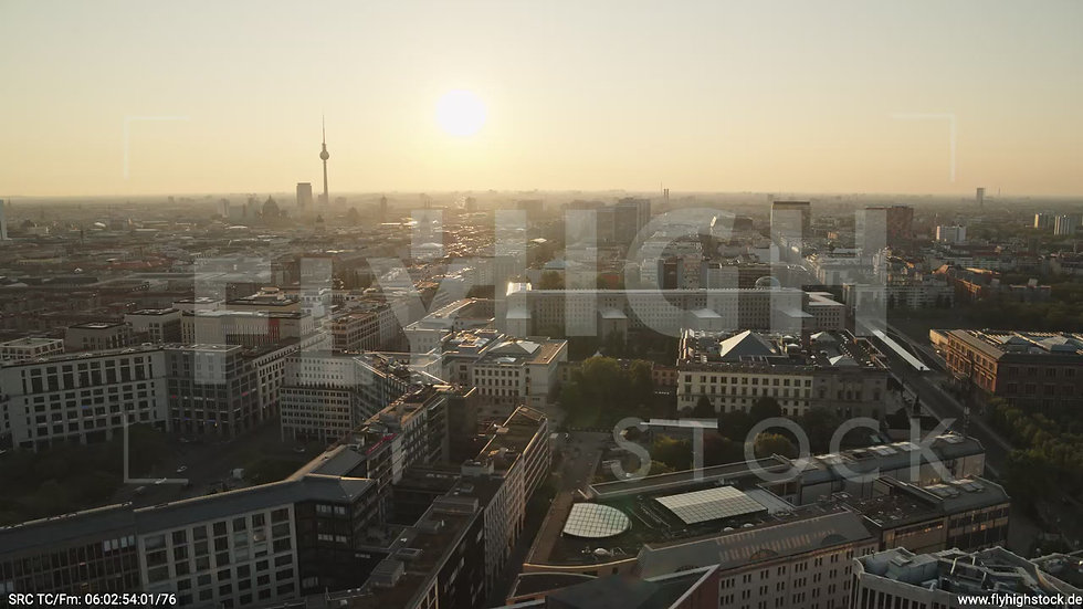 Berlin Potsdamer Platz Ost Skyline Parallelflug nach unten morgens D035_C002
