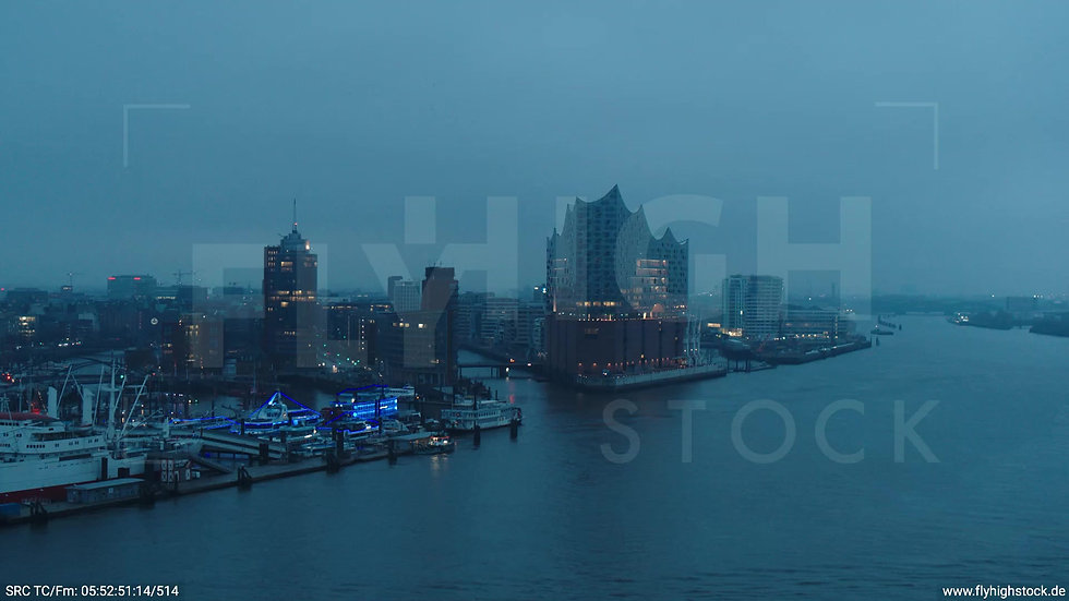 Hamburg Hafen Rückflug Elbe mit Elbphilharmonie morgens bewölkt Winter
