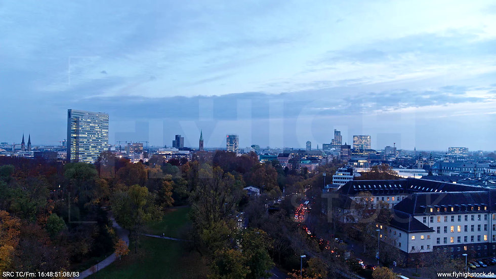 Düsseldorf Hofgarten Skyline Rückflug nach oben abends F009_C012