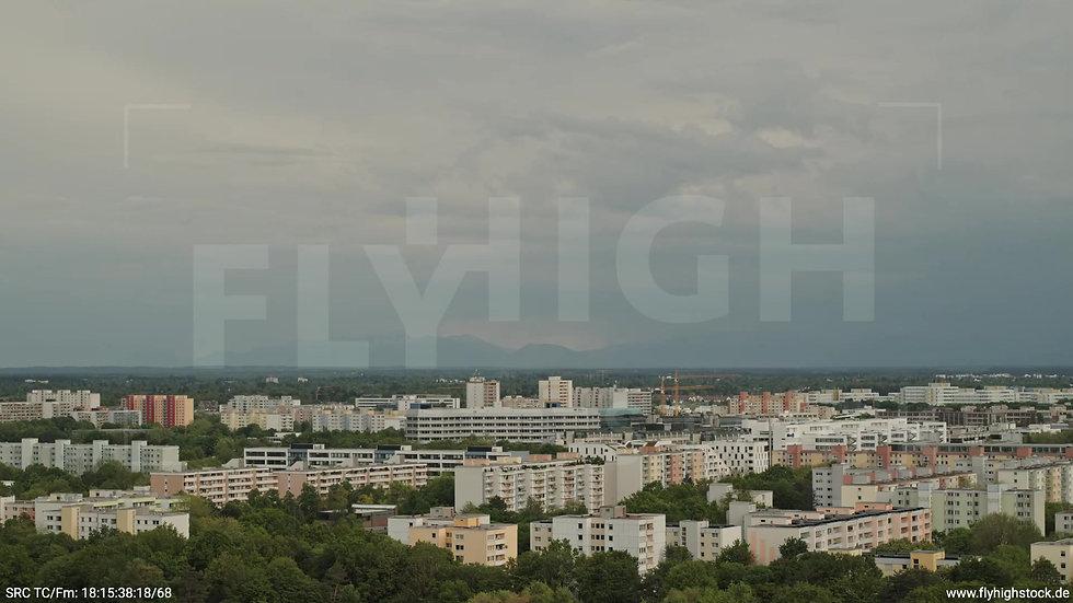 München Ostpark Stadtteil-Shot Zuflug nach unten tagsüber