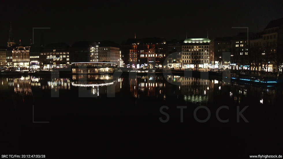 Hamburg Innenalster Hub Jungfernstieg nachts
