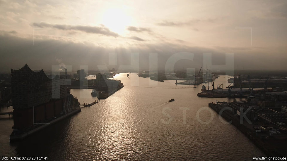 Hamburg Hafen Rückflug Elbe morgens