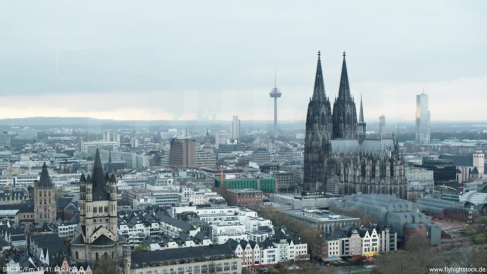 Köln Kennedy-Ufer Skyline Zuflug tagsüber 3