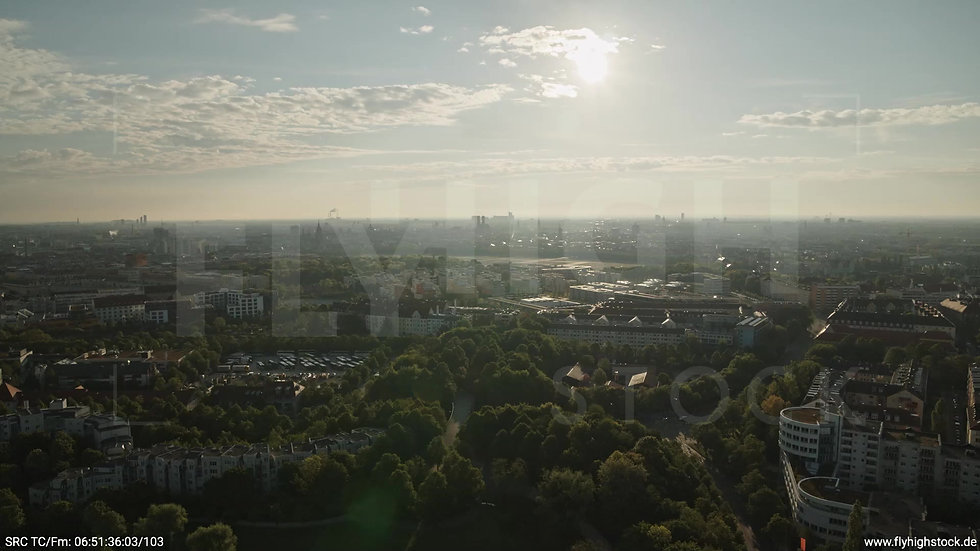München Westpark Ost Skyline Rückflug morgens 9