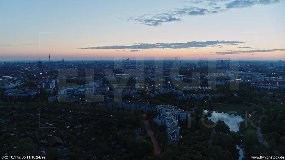München Westpark Ost Skyline Rückflug morgens 5