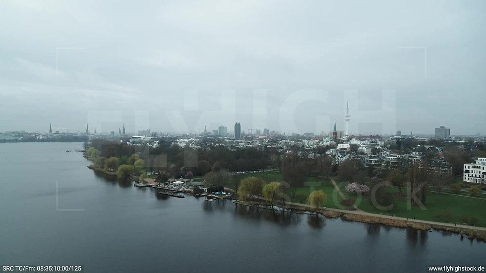 Hamburg Außenalster Zuflug Rotherbaum tagsüber bewölkt