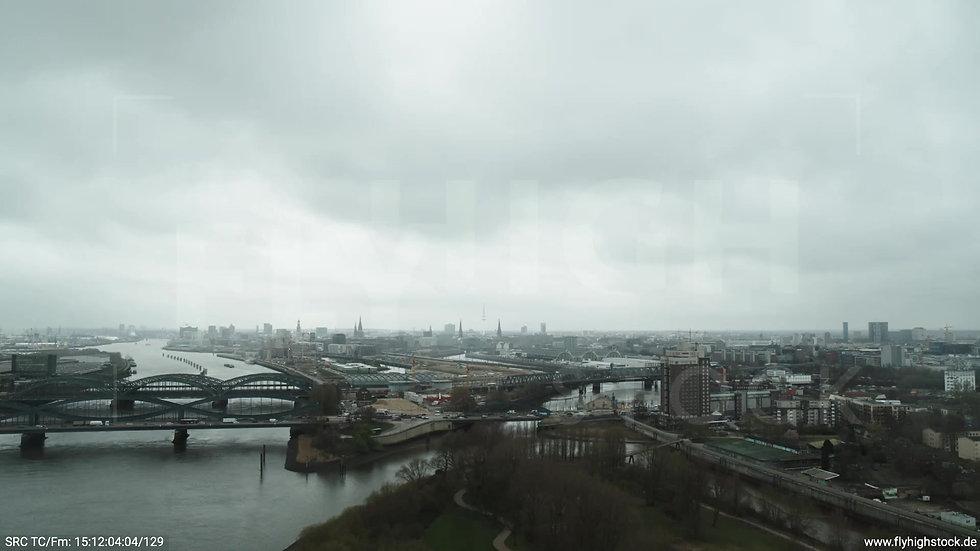 Hamburg Elbpark Zuflug Billhorner Brückenstraße tagsüber bewölkt Winter 2