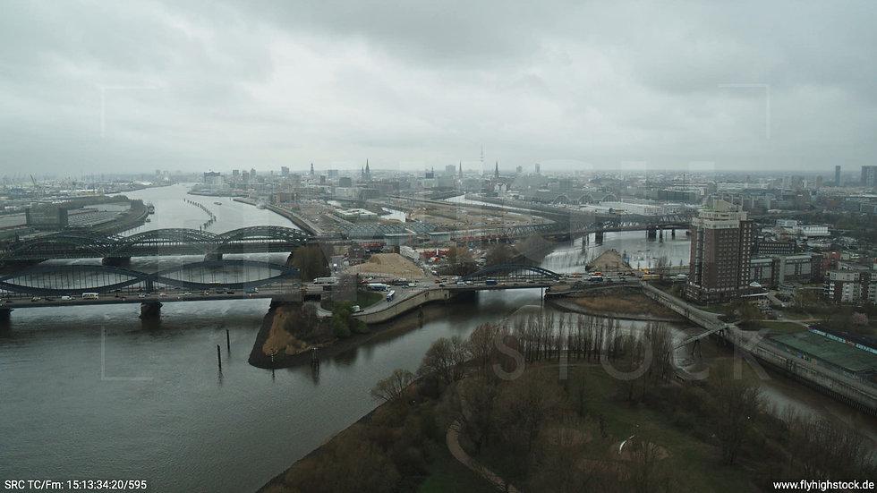 Hamburg Elbpark Hub Billhorner Brückenstraße tagsüber bewölkt Winter 2