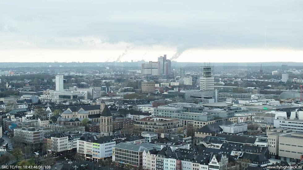 Köln Kennedy-Ufer Skyline Rückflug tagsüber 2