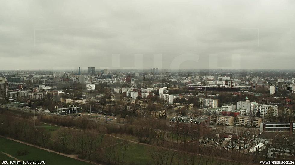 Hamburg Elbpark Zuflug Rothenburgsort tagsüber bewölkt Winter 2