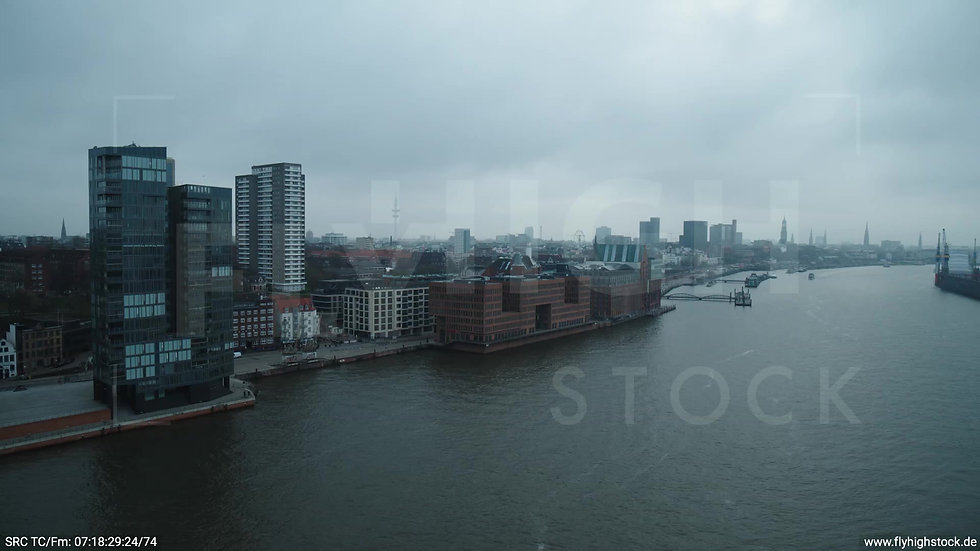 Hamburg Hafen Zuflug Skyline tagsüber bewölkt 2