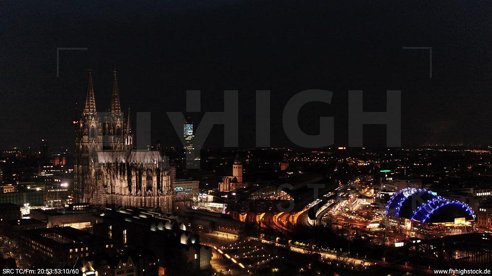 Köln Kennedy-Ufer Skyline Rückflug abends 3