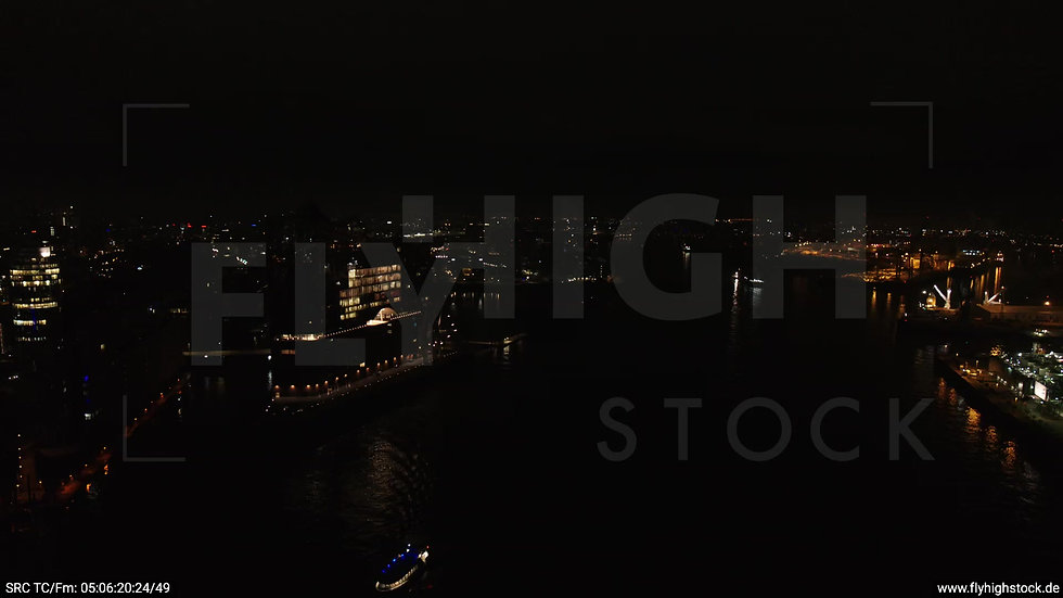 Hamburg Hafen Rückflug Elbe nachts